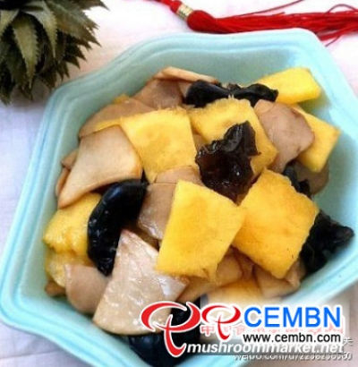 Entertaining recipe: Fried King oyster mushroom with pineapple and Black fungus